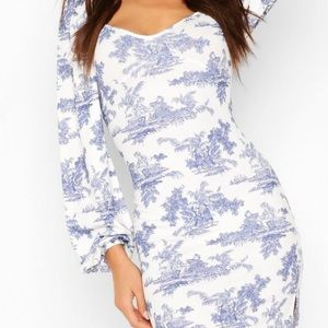 Chinoiserie Puffed Sleeve Dress